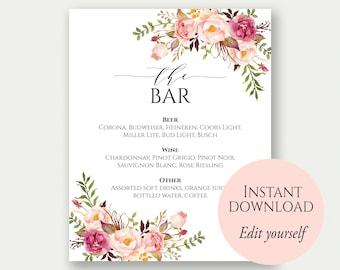 Bar Menu Sign, The Bar Sign, Bar Menu Printable, Drinks Sign, Bar Menu PDF, Editable Drinks Sign, Editable Bar Menu, Bar Menu Wedding, C1