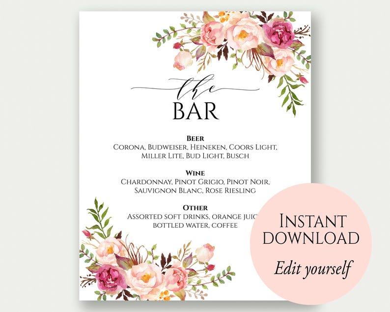 Bar Menu Sign The Bar Sign Bar Menu Printable Drinks Sign image 0