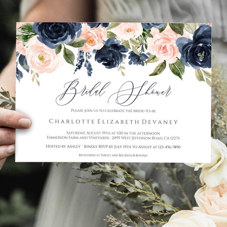 e63b0c43e086 Navy And Blush Bridal Shower Invitation Template Download