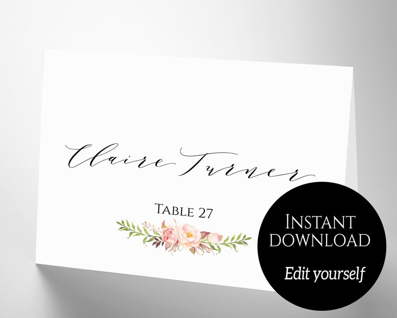 Place Card Template PDF Download Wedding Place Cards image 0