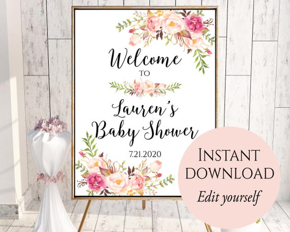 Welcome To Baby Shower Baby Shower Welcome Sign Template Etsy