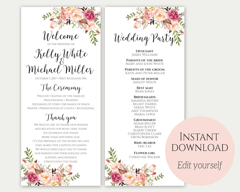 Wedding Program Ceremony Program Wedding Program Template image 0