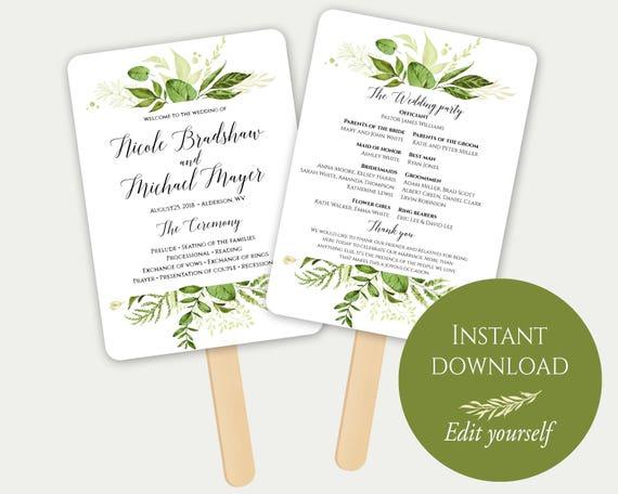 Fan wedding program fan program template editable program etsy solutioingenieria Image collections