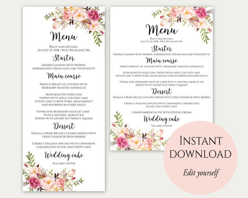 Wedding Menu Printable Wedding Menu Template Wedding Menu image 0