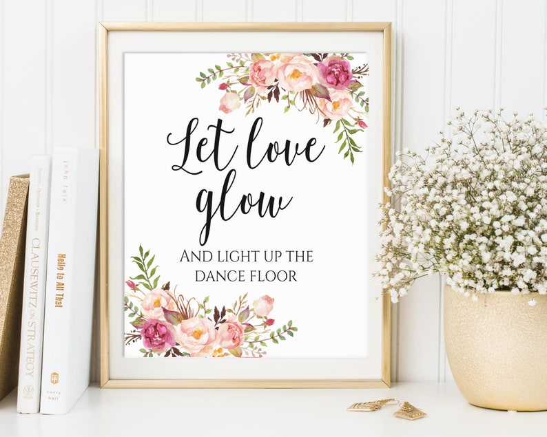 Let Love Glow Sign Glow Stick Send Off Wedding Glow Stick image 0