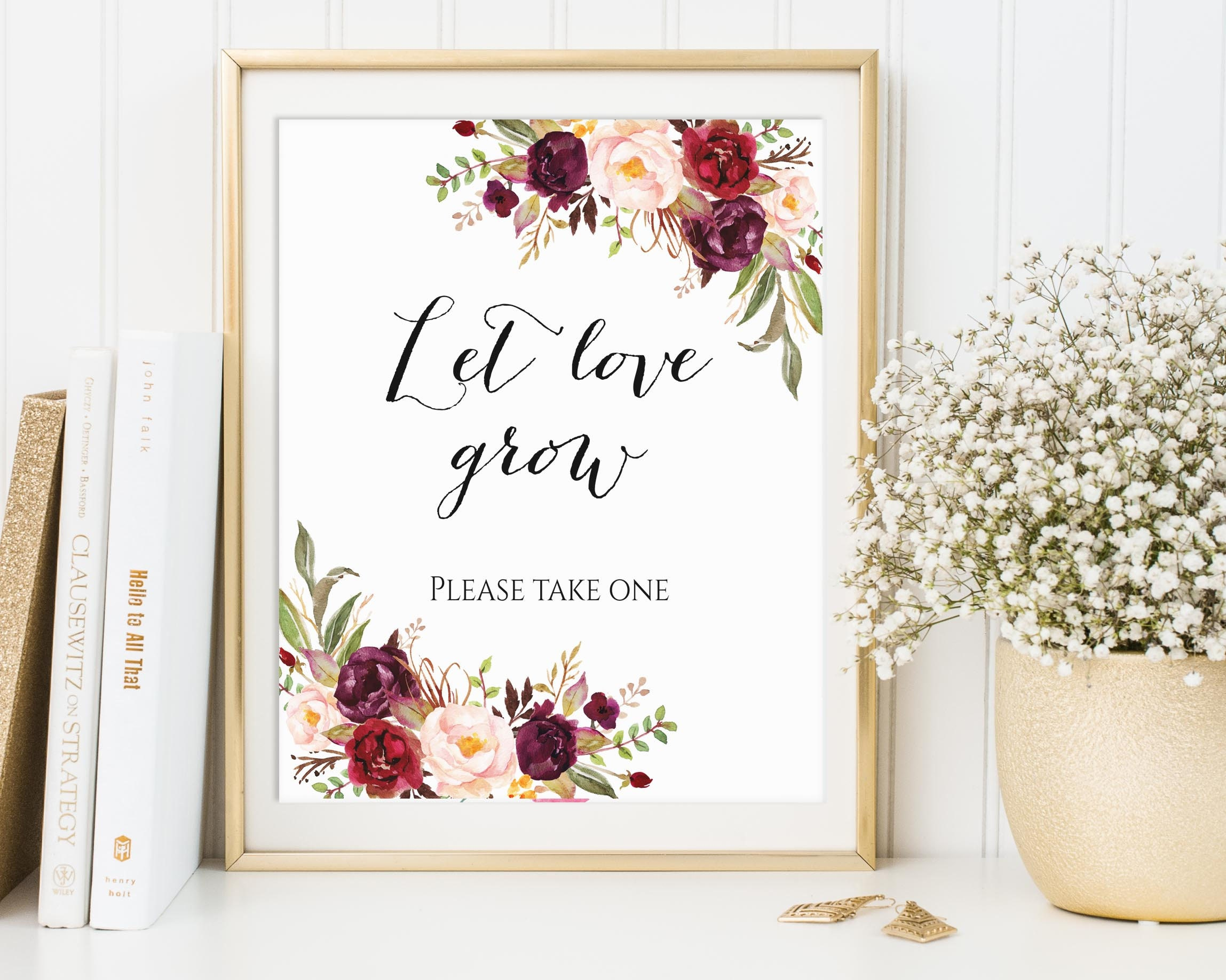 Let Love Grow Wedding Favor Sign Please Take One Seed Favor