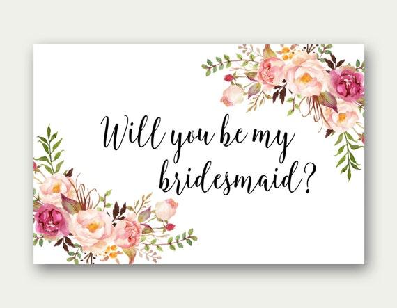 Will You Be My Bridesmaid Printable Bridesmaid Card
