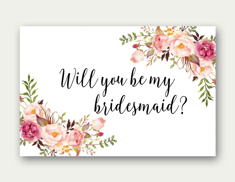 Will You Be My Bridesmaid, Printable Bridesmaid Card, Bridesmaid Proposal  Card, Floral Bridesmaid Printable, Floral Bridesmaid Card, C23 Intended For Will You Be My Bridesmaid Card Template