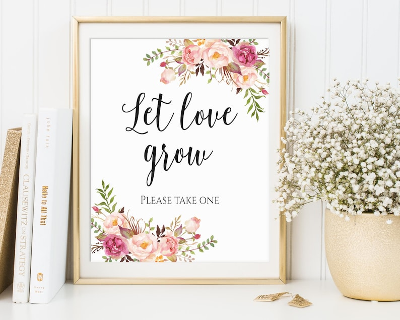 Let Love Grow Wedding Favor Sign Please Take One Seed Favor image 0