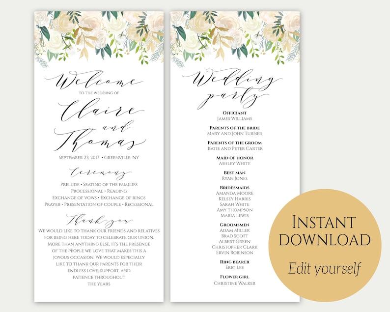 Instant Download Editable Program Wedding Program Template PDF Gold Wedding Program Printable Order Of Ceremony Ceremony Template C3
