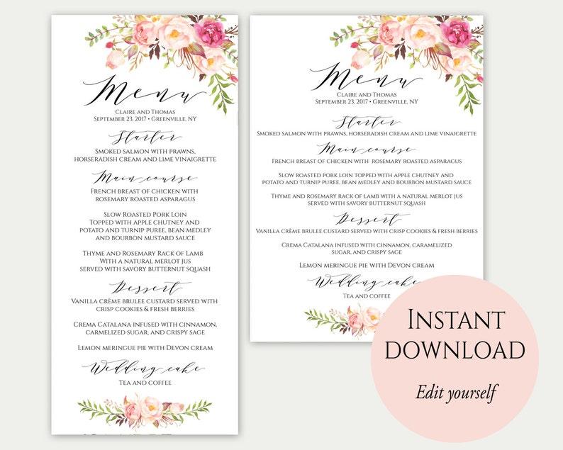 Wedding Menu Template 5x7 4x9 Wedding Menu Cards Menu image 0