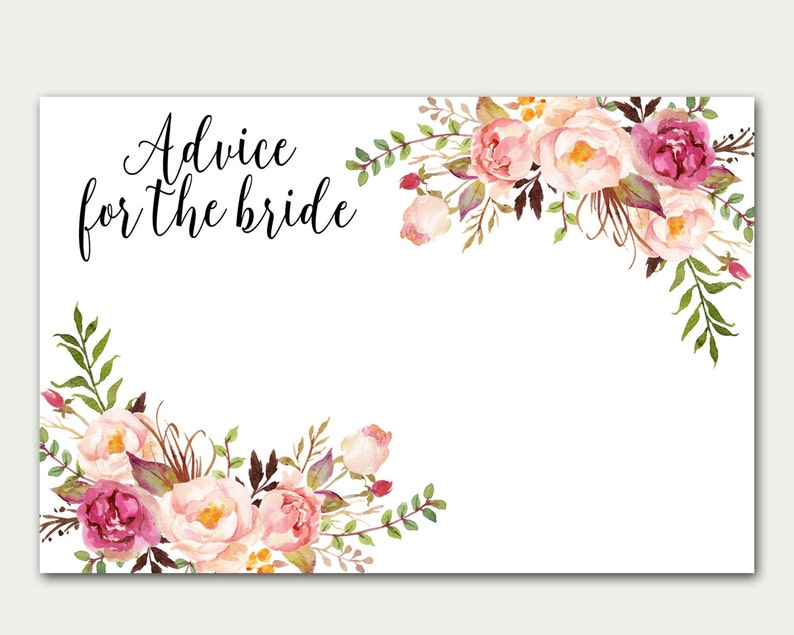 Advice For The Bride Bridal Shower Advice Card Floral Card image 0