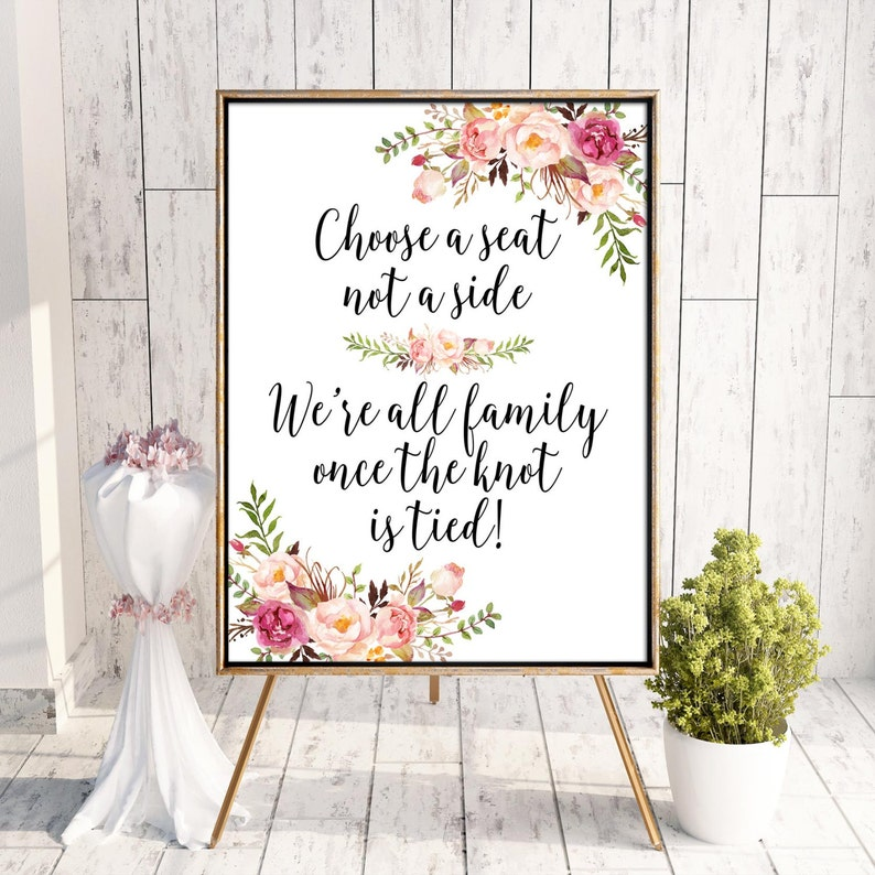 Choose A Seat Not A Side Seating Sign Aisle Sign Wedding image 0