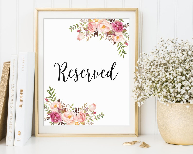Reserved Sign Wedding Reserved Sign Reserved Table Sign image 0