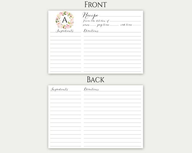 printable editable recipe cards