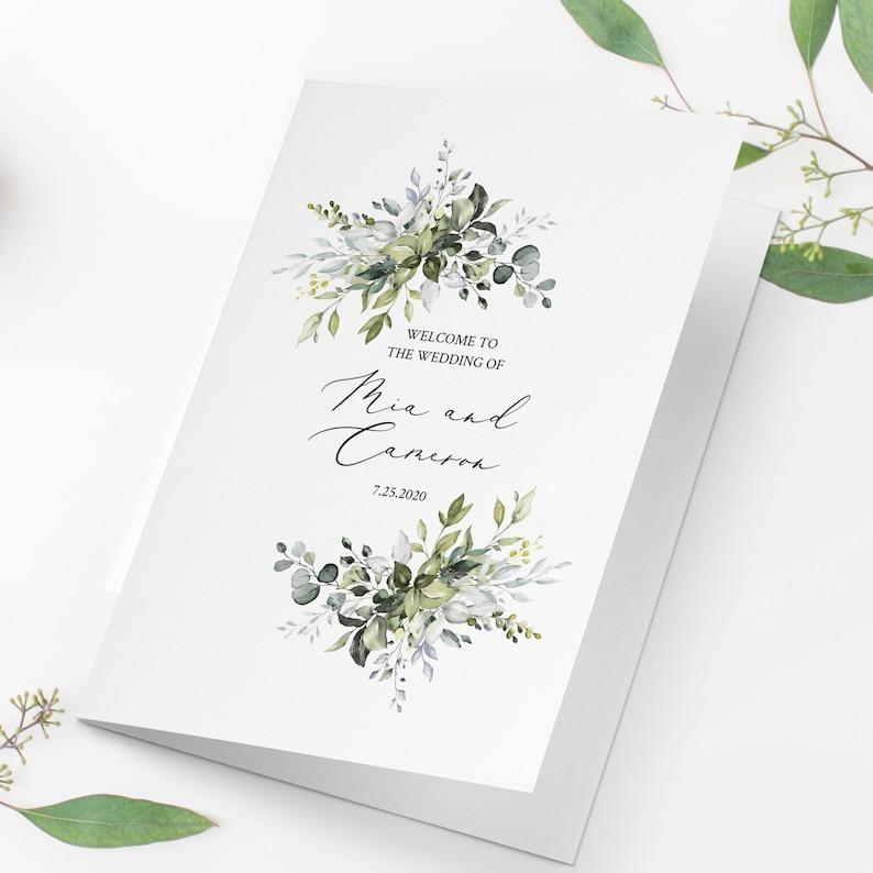 Folded Wedding Program Template Fully Editable Templett image 0
