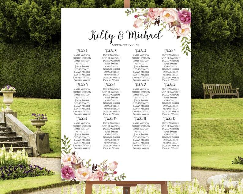 Wedding Seating Chart Seating Chart Printable Seating Chart image 0