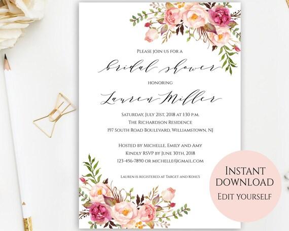 Bridal Shower Invitation Template Bridal Shower Invites Etsy