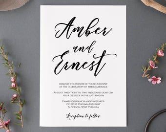 Rustic Wedding Invitation, Wedding Invitation Template, Kraft Wedding Invitation, Invitation Suite Template, Invitation Set Template, Suite
