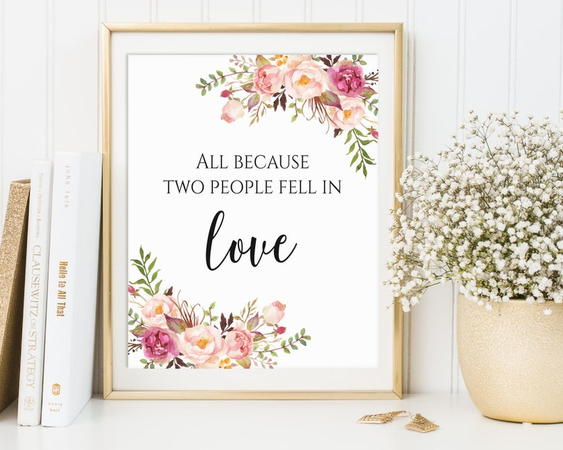 Wedding Sign All Because Two People Fell In Love Sign image 0