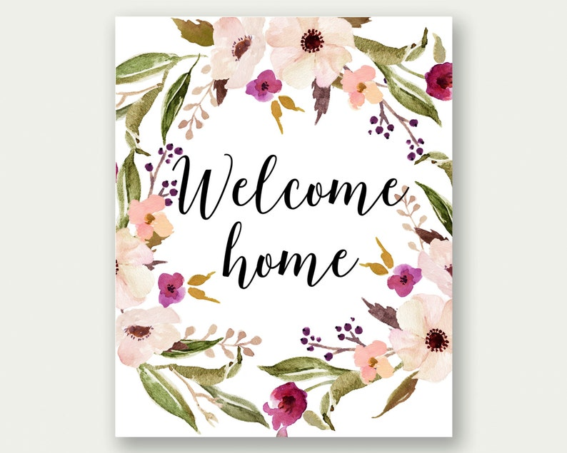 image relating to Welcome Home Printable named Welcome Residence Printable, Welcome Household Wall Artwork, Welcome Dwelling Print, Welcome House Quotation, Welcome House Decor, Welcome Property Floral Wreath