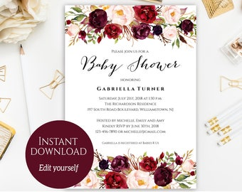 Baby Shower Invitation Template, Baby Shower Invite, Baby Shower Printable, Floral Baby Shower, Editable PDF, DIY Baby Shower, Marsala