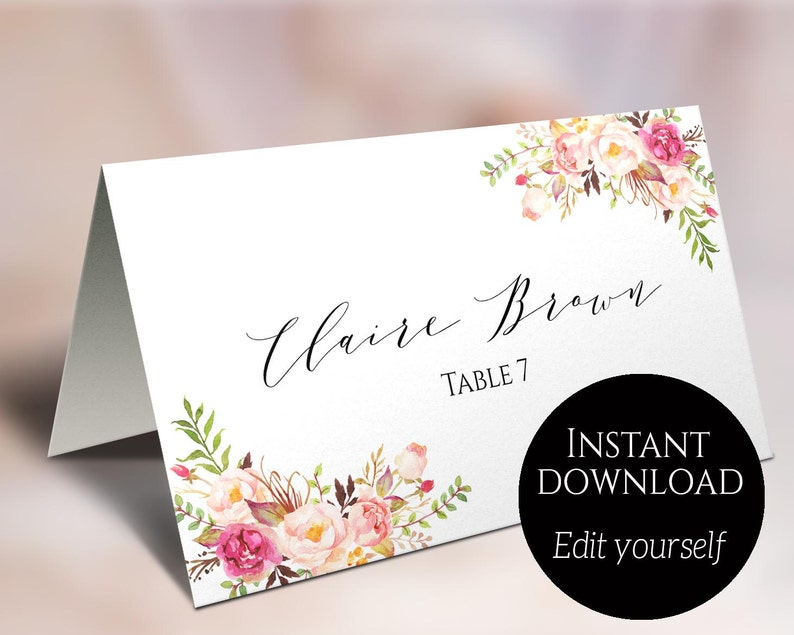 Place Card Template Wedding Place Cards Editable Place image 0