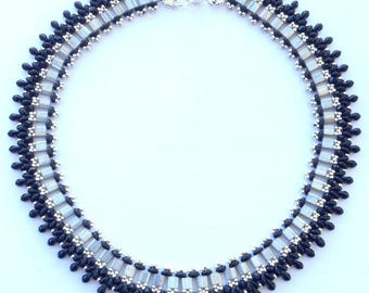 Handmade black and silver beaded necklace