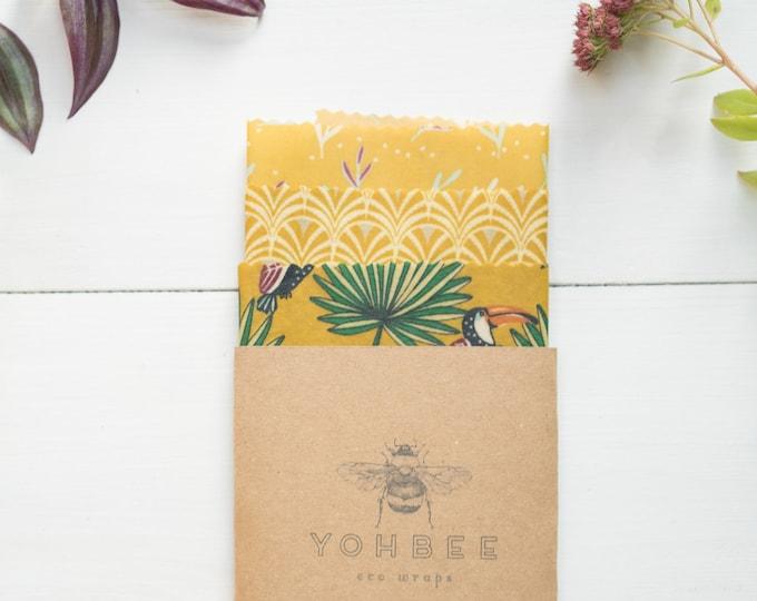 BEE'S WRAPS yellow toucan set ot 3 (S,M,L)