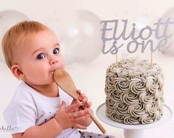 FIRST BIRTHDAY BOY. One Cake Topper. Custom Name & Age. Silver. Blue. Party Decorations. Smash Cake Topper. Personalised. 1st birthday boy.