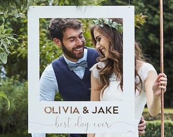 Personalised Wedding Photo Booth Frame  / White and Rose Gold / Copper Letters/ Photos/Sitckers /Wedding Names / Wedding Selfies /Memories