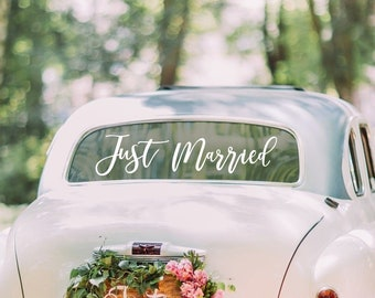 Just Married Wedding Car Sticker //White Wedding// Wedding Car Decoration// Gold Wedding //Wedding Decorations // Car Sticker // Wedding Day
