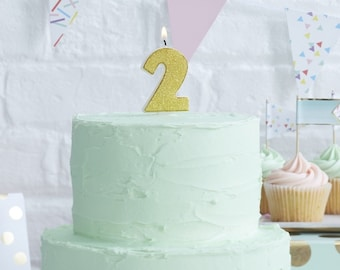 Gold Candle Number 2 Second Birthday Party Two Years Old Cake Decorations Girl Boy 3 4 5