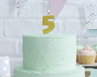 Gold Candle Number 5 Fifth Birthday Party Five Years Old Cake Decorations Girl Boy 3 4