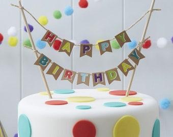 Birthday Cake Bunting Happy Kraft Banner Garland