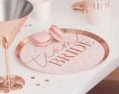 Team Bride Party Plates.Hen Do Tableware. Bride to Be. Hen Party. Stylish and classy Hen Do Party Decorations. Pink and rose gold.