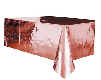 Metallic rose gold plastic table cover   Party Decoration   Table  Decoration    Party Table   Rose gold tablecloth   Touch of color e4cc3016dcb6