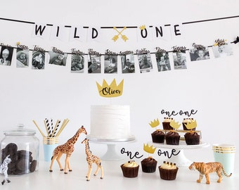 Written Wild One First Birthday Banner Boy Decorations Gold Arrows Cake Smash