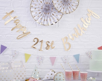 Gold Happy 21st Birthday Bunting Pick Mix Garland Party Decorations Wall Decoration