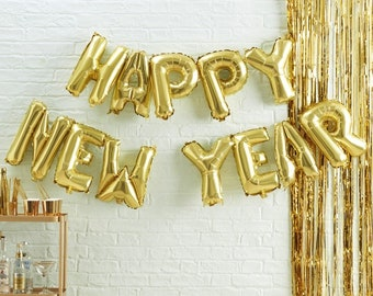 Gold Happy New Year Balloon Bunting //Metallic Star// Novelty Christmas// Xmas decoration//  Christmas party// Happy New year // balloons