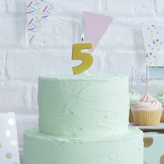 Gold Candle Number 5 Fifth Birthday Party Five Years Old