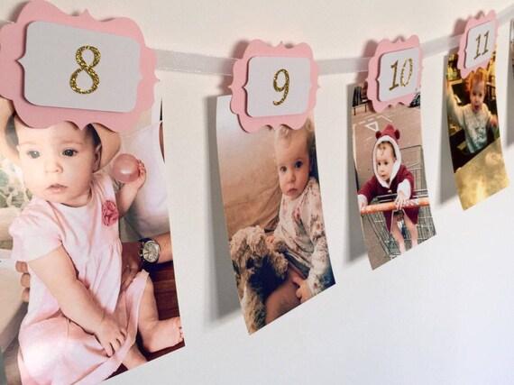 rosa per la decorazione della prima festa di compleanno KAEHA SUN-029-06 Banner per foto da 12 mesi