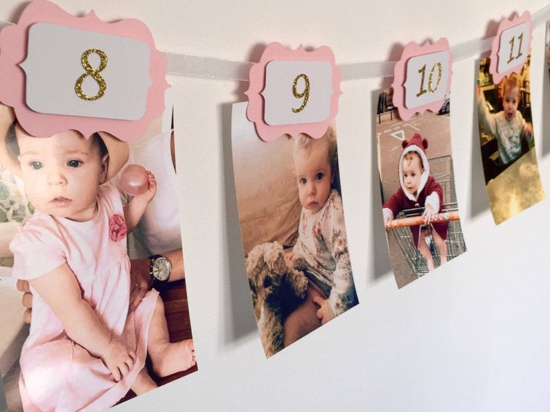 12 MONTHS PHOTO BANNER. Pink and gold. 12 months Banner. Cake image 0