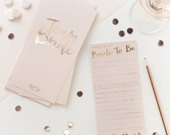 Advice for the bride to be cards. Pink and gold rose. Hen Do party games. Hen Party. Bridesmaid.
