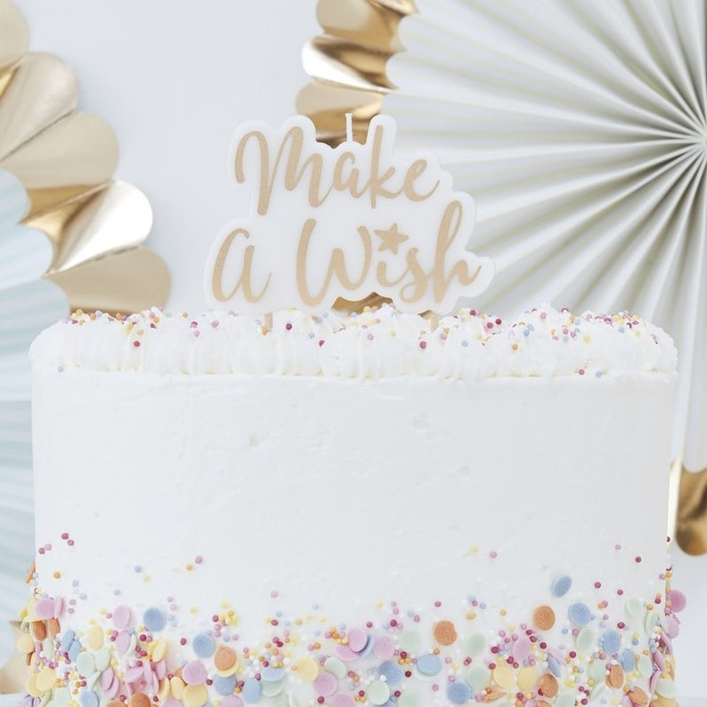 Gold Glitter Make A Wish Birthday Girl Candle Cake
