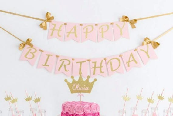 happy birthday wall banner birthday girl birthday banner etsy