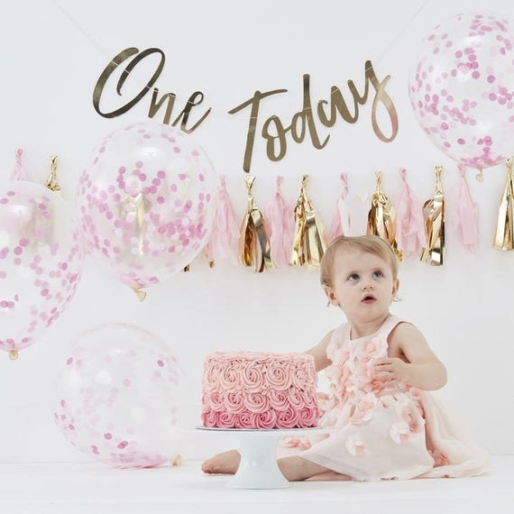 Pink And Gold First Birthday Party Decorations Kit