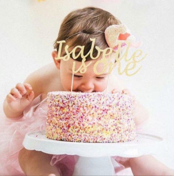 FIRST BIRTHDAY NAME Cake Topper Any Age Second Birthday