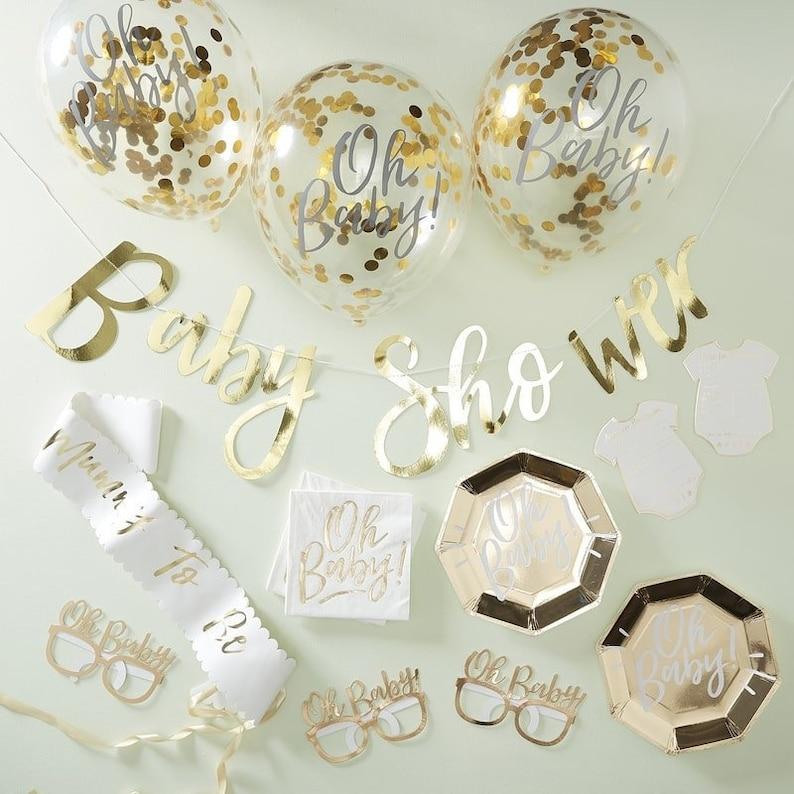 Kit Baby Shower or - Créatrice ETSY : InspiredbyAlma