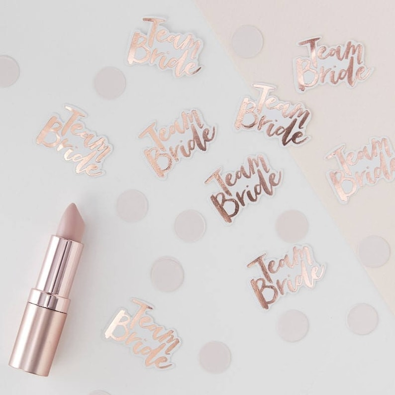 Rose Gold Foiled Team Bride Confetti. Hen Do Party. Hen Party. image 0
